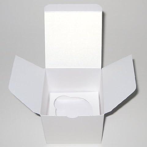 10Scatole per confetti (Tinta Unita Bianco Argento