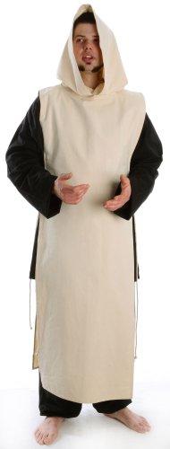 HEMAD Mittelalter Überwurf naturbeigeSkapulier zum Schnüren mit Kapuze (Templer Kleidung)