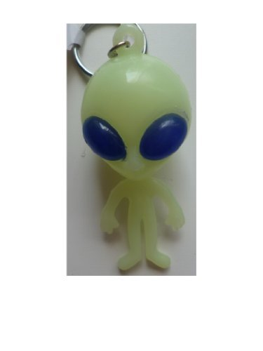 Funny Martian Glow In The Dark Alien With Big Blue Bug Eyes Keyring by tillon