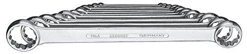 GEDORE 4-120 Doppelringschlüssel-Satz, gerade, Ausführung nach DIN 837, Form B, flach, mit dünnwandigen Ringen, verchromt mit UD-Profil, 12-teilig, 6-32 mm - Maulschlüssel-set Stück 9