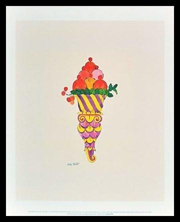 Andy Warhol Ice Cream Dessert Eis c.1959 fancy red Poster Kunstdruck Bild im Alu Rahmen schwarz 42x34cm - Germanposters (Andy Warhol Ice Cream)