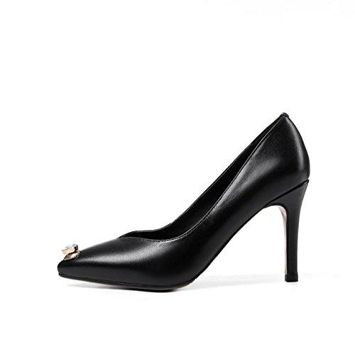 WSS chaussures à talon haut Eau peu profonde. forage femelle pointu talon haut stiletto chaussures travail chaussures cuir fashion Black