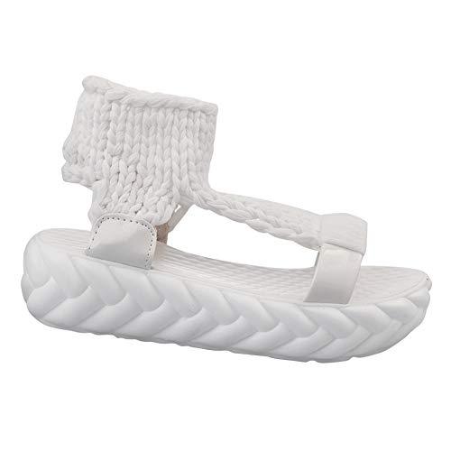 Daytwork Sandalen Gestrickte Damenschuhe Sandaletten - Frauen Plattform Tuch Slingback Peep Toe Stricken Keil Dicker Boden Hohl Hausschuhe Römisch Lässig Mädchen Laufen Schuhe -