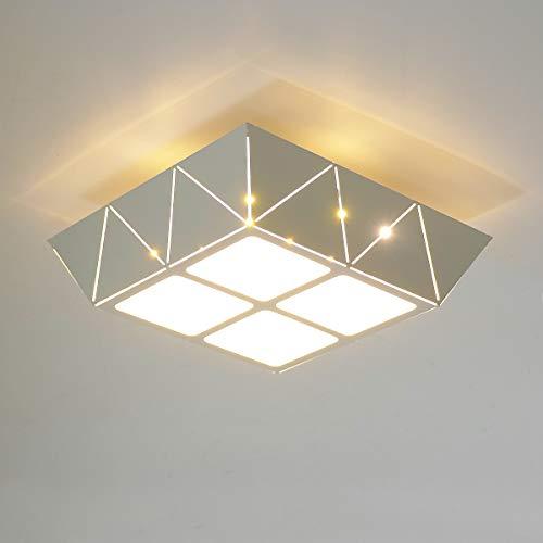 HAWEE Élégant 12W Moderne Lumière de Plafonnier LED Lampe de Plafond Carré Design Creux en Fer pour Chambre à Coucher, Couloir, Salon, Escalier, Salle de Bain, Entrée, Blanc Chaud