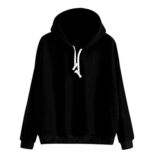 Hoodie Pullover Damen Btruely Herbst Winter Hooded Sweatshirt Mode Mädchen Pullover (S, Schwarz) (Feinstrick-mischung)