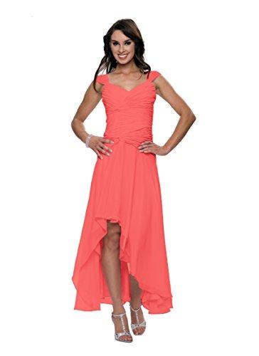 Astrapahl Damen Cocktail Kleid mit schönen Raffungen, Knielang, Einfarbig, Gr. 44, Rosa (Watermelon)