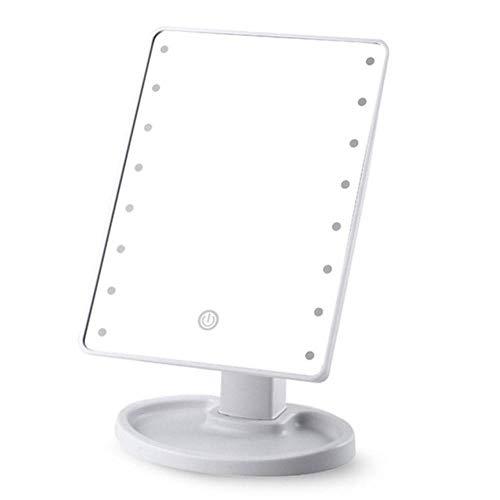 Espejo de maquillaje LED con luz Almacenamiento de escritorio Sensor táctil Espejo 360 Maquillaje cuadrado...