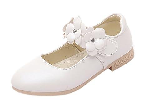 La Vogue Chaussure Princesse Fille Ballerine Sandale Cérémonie Mariage Simili Cuir Souple Blanc 31
