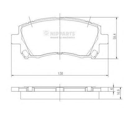 Nipparts J3607013 Kit de plaquettes de frein, frein à disque