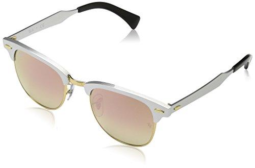 Ray Ban Unisex Sonnenbrille Clubmaster Aluminium Mehrfarbig (Gestell: weiß/Silber/schwarz,Gläser: kupferverlauf 137/7O)), Small (Herstellergröße: 49)