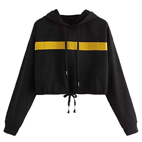 Bluse Cap (Hoodies, Vovotrade Damen Langarm Patchwork Crop Bluse Sweatshirt Mode Lässig Damen Langarm-Sweatshirt Solid Shirt Hooded Caps Pullover Winter Herbst)