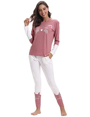 Aibrou Pijamas Mujer Algodón Invierno 2 Piezas,Ropa de Casa Dormir Casual Camiseta y Pantalones Largo...