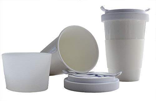 Rannenberg & Friends Coffee to go Becher - weiß - aus feinem Porzellan mit verschließbarem Deckel - Füllmenge : 350 ml