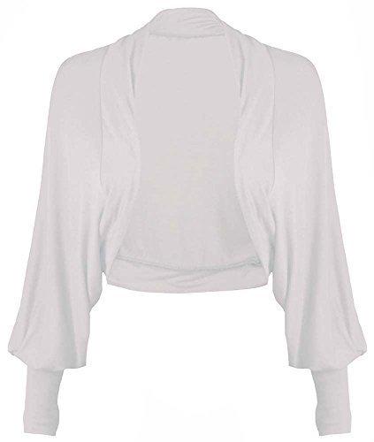 haute pour DIVA 's neuf femmes pour femme haut manches longues manches chauve-souris cardigan boléro 11 couleurs taille UK 8-26 Blanc