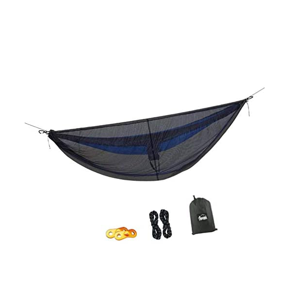 LIOOBO 1Set Camping Hammock with Mosquito Net Lightweight Adjustable Net Hammock Bug Hammock Mosquito Hammock for Backpacking Beach LIOOBO Great Gifts: adults, couples, travelers, couples with kids, beachers, campers - everyone says they enjoy it! A great gift for travel, camping, yard You can also quickly store the hammock and parts in the bag quickly. The camping hammock compacts to a backpack friendly, portable size for your convenience. Has built-in ultralight, waterproof compression stuff-sack, with a 2-sided buckle design that wonâ€t drag in the dirt while you hang. 3