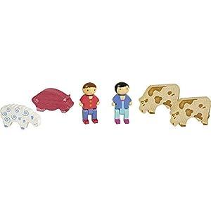 Jeujura 8086 - Juego de 2 Figuras y 4 Animales de Granja de Madera