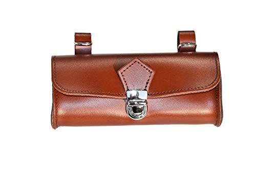 OVAL Hinten Sattel. Bike Bag Fahrrad Tasche. Gepäckträger. Fahrradgepäcktasche. Satteltasche, Fahrradtasche. Weinlese. Echtes Leder/Vero Cuoio. Farbe Braun. Made IN Italy (VIN_OV_5C_M)