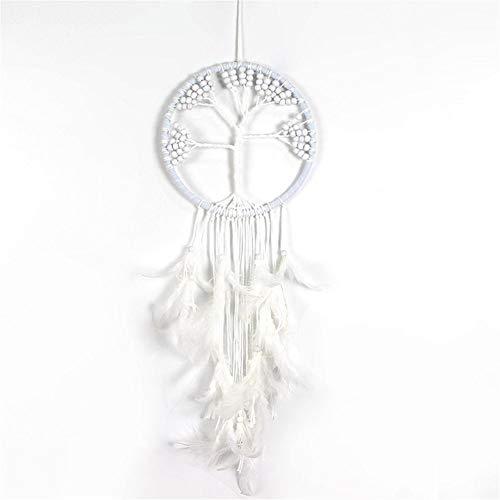 Luckybaby Capteur de rêves Blanc Original en Forme d'arbre de Dream Catcher - Motif de Crochet Traditionnel avec Plumes et Perles Noires et Blanches - Largeur de 20 cm, Longueur de 50 cm