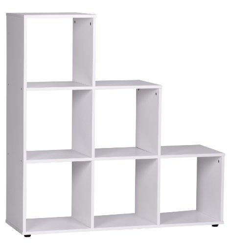 Wohnling Stufenregal Lucy Holz 6 Fächer Standregal, 110 x 110 x 33,5 cm, Design Raumteiler für...