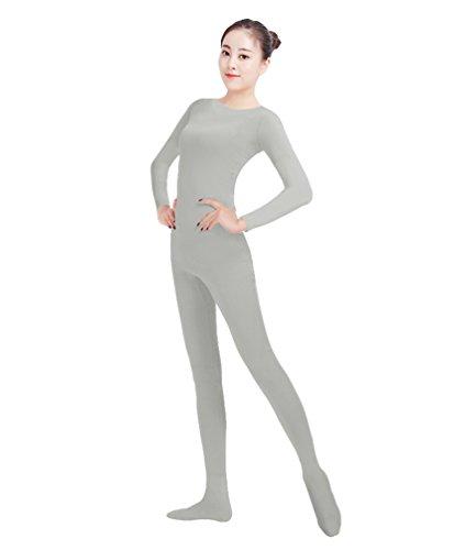 NiSeng Erwachsener und Kind Ganzkörperanzug Kostüm Lange Ärmel Bodysuit Kostüm Zentai Offene Bodysuit Kostüm Hellgrau XS