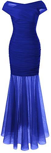 Angel-fashions Damen Gerafft Aus der Schulter Semi-transparent Voile Meerjungfrau Ballkleid Medium