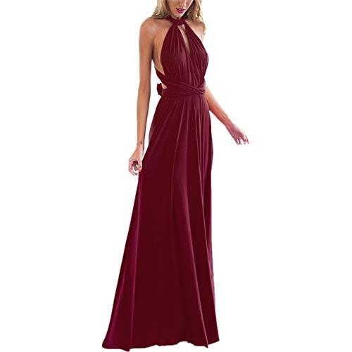 OBEEII Abito Donna Lungo Elegante Senza Maniche Sexy Multi Way Bandage Dress Vestito da Cerimonia Matrimonio Sposa Damigella d'Onore Sera Cocktail Prom Vino Rosso XS