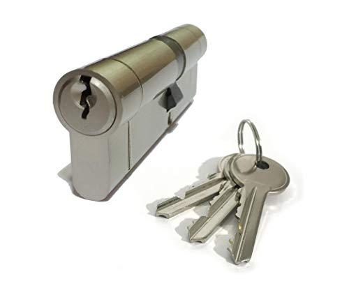 Euro-Tür-Schließzylinder, Größe 30/30, vernickelt, 3 x Schlüssel, Anti-Pick, Anti-Bohren, Anti-Stößen, Anti-Snap, für PVC/PVC-Türen, Terrassentüren etc. (Pick-60mm)