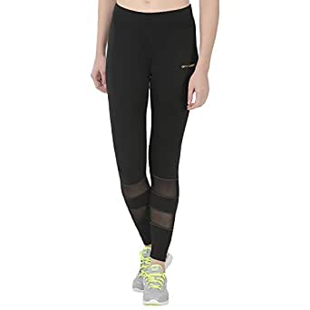 Onesport Black Polyester Spandex Jersey Solid Slim Fit Sports Tights for Women(ONSP12BLA1-S)