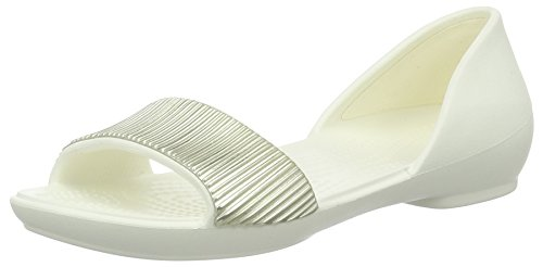 Crocs Linaembdrsayflt, Ballerines Femme Blanc (Oyster/Champagne)
