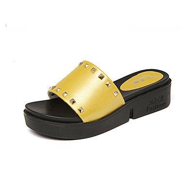 Rtry Mujer Tacones Altos Confort Microfibra Sintética Pu Summer Casual Office & Amp; Career Comfort Wedge Heel Yellow Black White 2a-2 3 / 4en Us7.5 / Eu38 / Uk5.5 / Cn38