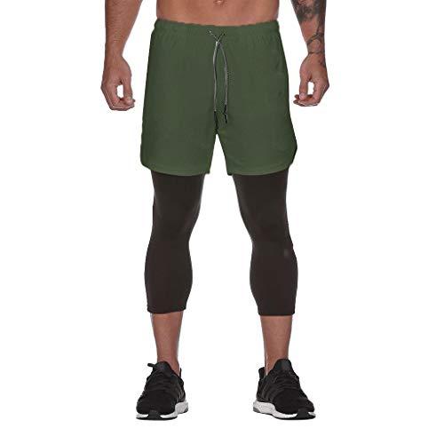 Dasongff Herren 2 in 1 Hosen Shorts Männer Laufhose Doppel-Deck Schnell Trocknend Fitness Bodybuilding Atmungsaktives Kompression Shorts Training Sport Shorts Mit Eingebaut Taschen (Doppel Dauert Kostüm)