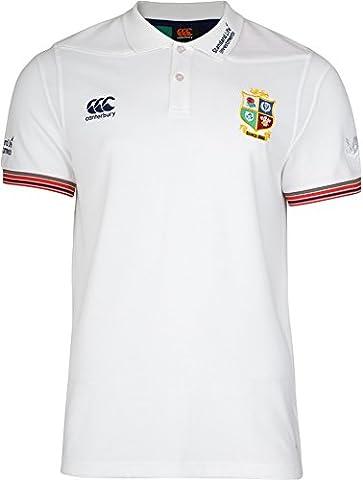 British & Irish Lions Men's VapoDri Cotton Pique Training Polo Shirt - Bright White, (Nuova Zelanda Rugby Shirts)