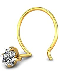 Candere By Kalyan Jewellers 18k (750) Yellow Gold and Diamond White Vine Nose Pin