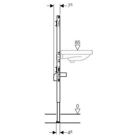 Geberit Duofix Waschtisch, 112-130 cm, für AP-Wandarmatur 111.437.00.1