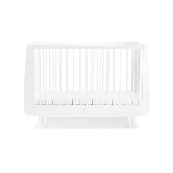 SnuzKot Skandi Cot Bed - White Snuz As your child grows, so does , converting to a toddler bed up to 4 years, and with the additional junior bed extension kit to approx. 10 years. 3 mattress heights; to last from new-born to toddler Designed to last, every  is made using natural beech wood, without the use of mdf or veneer. 1