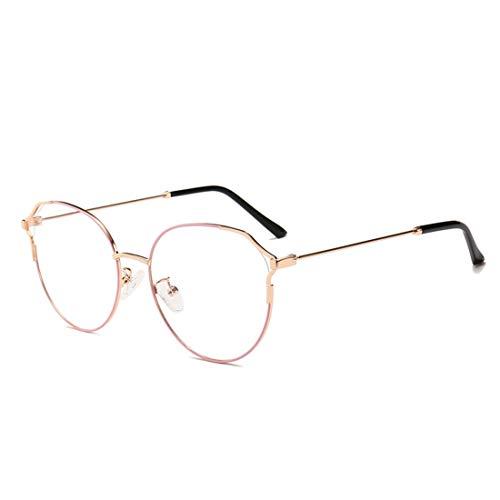 Klerokoh Metall Retro Cat Eye Brillengestell Nicht verschreibungspflichtige Brille Männer Frauen (Color : Pink)