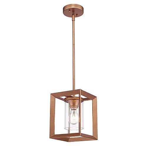 Gold-finish Klar Glas (Moderne Mini Pendelleuchte Esszimmerlampe, Innen Glas Hängelampe, Antik Gold Finish mit Klar Glas Lampenschirm, Verstellbarer Stange 1,1 m, Hängeleuchte E27 1-flammig Dekorativen Beleuchtung für Küche)