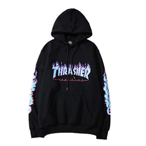 Fashion Flame Print Plus Velvet Pullover Hoodie for Men/Women -