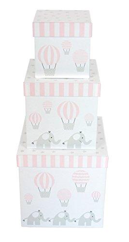 """Preisvergleich Produktbild JaBaDaBaDo Aufbewahrungsboxen """"Elefant blau oder rosas 3er Set"""" Universalkisten Aufbewahrungskiste Universalbox Stapelboxen Pastell (Rosa)"""