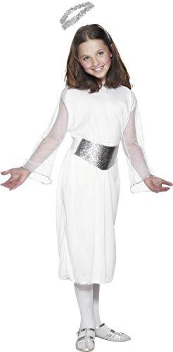Smiffys, Kinder Mädchen Engel Kostüm, Kleid, Gürtel und Heiligenschein, Größe: M, (Engel Kostüm Für Mädchen)