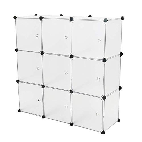 PrimeMatik - Armario Organizador Modular Estanterías de 9 Cubos de 35x35cm plástico Blanco con Puertas