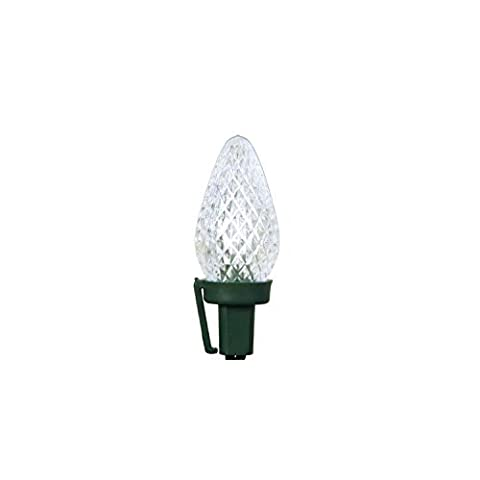 Set of 50 Pure White Faceted LED C7 Christmas Lights