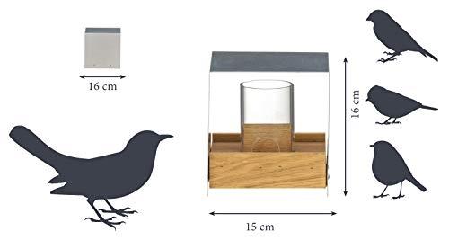Luxus-Vogelhaus 46861e Eichenholz Vogelfutterhaus mit Ständer - 6
