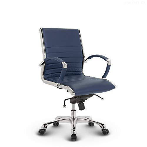 VERSEE Design Bürostuhl Montreal - Echt-Leder - blau - Konferenzstuhl, Meetingstuhl, Drehstuhl, Bürodrehstuhl, Schreibtischstuhl, Designklassiker, hochwertige Verarbeitung, Stuhl, 150 kg belastbarkeit