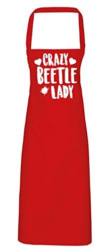 hippowarehouse Crazy Beetle Lady Schürze Küche Kochen Malerei DIY Einheitsgröße Erwachsene, rot, Einheitsgröße