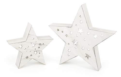 Small foot legno illuminata cielo notturno con illuminazione a led indiretta, natalizia rustico, set di 2 stelle di diverse dimensioni con ritagli, decorazione in stile country, shabby chic