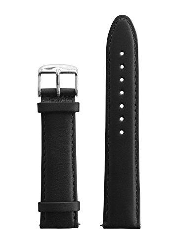 BULLAZO Uhrenarmband mit Schnellwechselfunktion, 20mm, Leder, Schwarz Silber