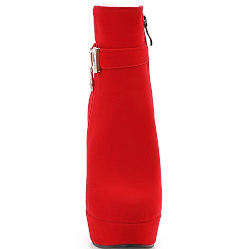 ENMAYER Femmes New Style Sexy Round Toe Plateforme Talon Haut Bottines Avec Boucle Taille 1,5-8 Rouge