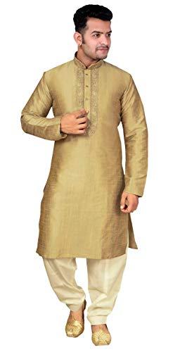 urta Pyjama Shalwar Kameez Sherwani 1852 (XL (Brust - 42 Zoll), Hell Gold) ()