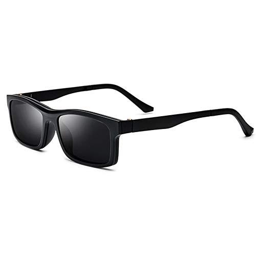 MOMIN-Sunglasses Klassische Retro Sonnenbrille TR90 Half-Frame Clip-on Polarisationssonnenbrille Magnet Spiegelmontierte Brillenfassung mit Myopie-Brille Sonnenbrillen für Männer, Frauen